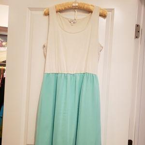 Summer Maxi Dress Green & White.
